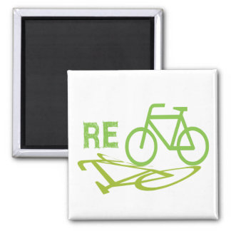 Recicle el diseño de la bici imán cuadrado