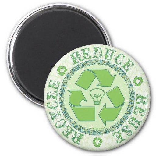 Recicle el engranaje del Día de la Tierra Iman De Frigorífico