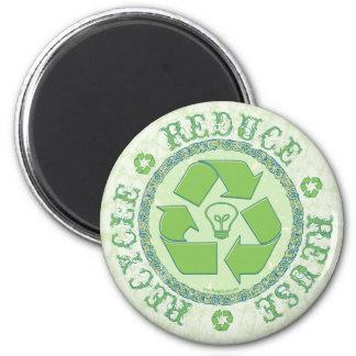 Recicle el engranaje del Día de la Tierra Imán Redondo 5 Cm