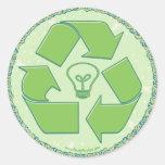 Recicle el engranaje del Día de la Tierra Pegatina Redonda