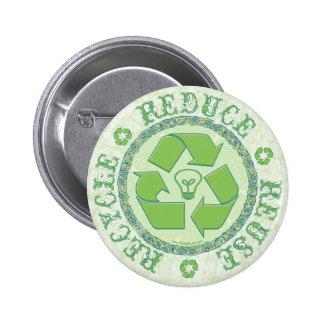 Recicle el engranaje del Día de la Tierra Pin Redondo De 2 Pulgadas