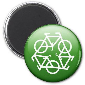 Recicle el logotipo con las bicicletas imán redondo 5 cm