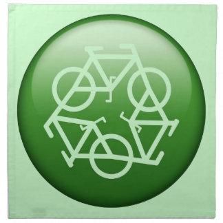 Recicle el logotipo con las bicicletas servilleta de papel
