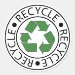 Recicle el logotipo de centro verde pegatina redonda