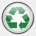Recicle el logotipo en vidrio (fije de 6/20) pegatina redonda