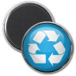 Recicle el logotipo en vidrio y cromo imán de nevera