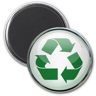 Recicle el logotipo en vidrio y cromo imán redondo 5 cm