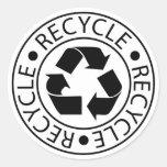 Recicle el logotipo negro etiqueta redonda