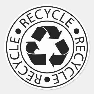 Recicle el logotipo negro pegatina redonda