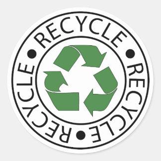 Recicle el logotipo verde de Ceter Pegatina Redonda