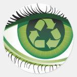 Recicle el ojo etiquetas redondas