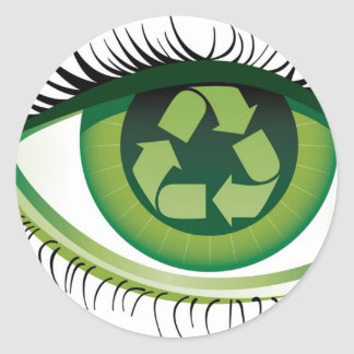 Recicle el ojo pegatina redonda