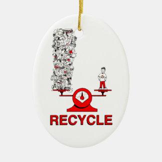 Recicle el ornamento de la basura adorno ovalado de cerámica