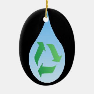 Recicle el ornamento del agua adorno ovalado de cerámica