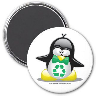 Recicle el pingüino imán redondo 7 cm