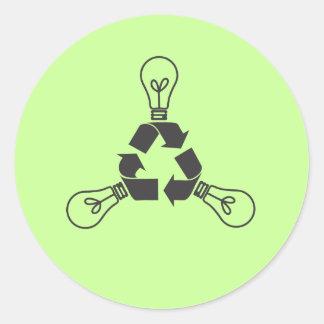 Recicle el poder pegatina redonda