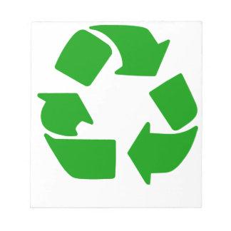Recicle el símbolo bloc de papel
