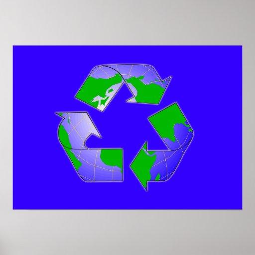Recicle el símbolo con el poster de la tierra