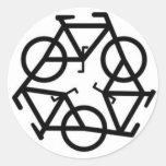 Recicle el símbolo del logotipo de la bicicleta pegatina redonda