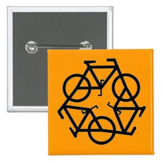 Recicle el símbolo del logotipo de la bicicleta pin cuadrado