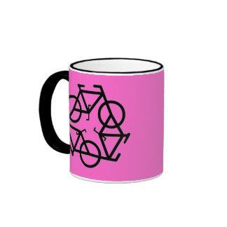 Recicle el símbolo del logotipo de la bicicleta tazas de café