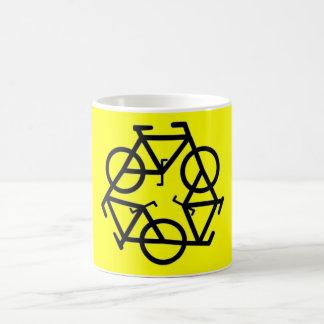 Recicle el símbolo del logotipo de la bicicleta taza de café