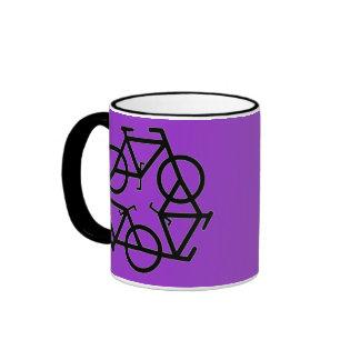 Recicle el símbolo del logotipo de la bicicleta tazas
