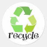 ¡Recicle el símbolo! Etiquetas Redondas