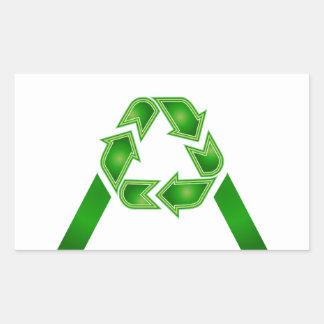 Recicle el símbolo hecho como la letra A Pegatina Rectangular