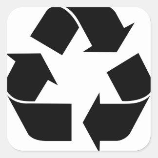Recicle el símbolo calcomanía cuadradase