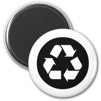 Recicle el símbolo - reduzca, reutilice, recicle imán redondo 5 cm