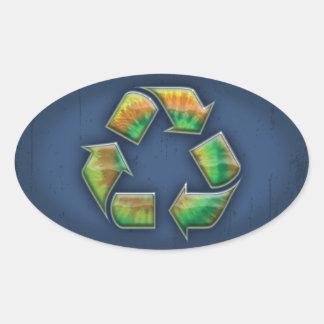 Recicle - el teñido anudado pegatina ovalada