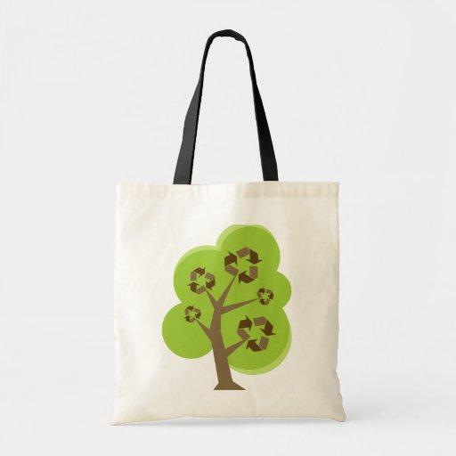 Recicle el verde del árbol bolsas lienzo