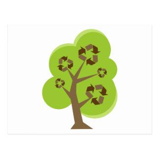 Recicle el verde del árbol postal