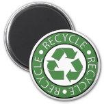 Recicle el verde imán redondo 5 cm