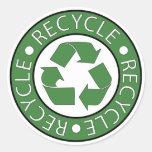 Recicle el verde pegatina redonda