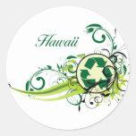 Recicle Hawaii Pegatina Redonda
