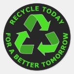 Recicle hoy para un mejor mañana pegatina redonda