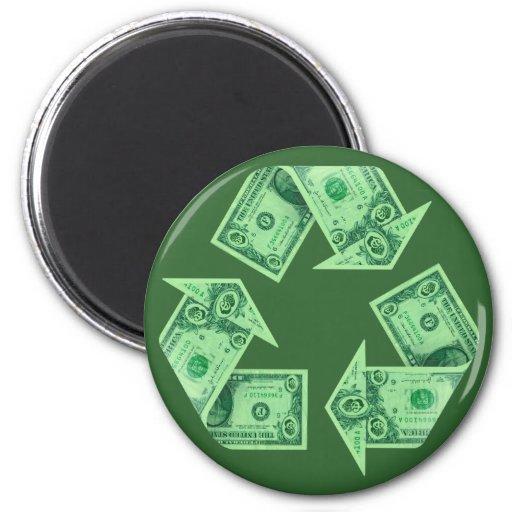 Recicle $ imán redondo 5 cm