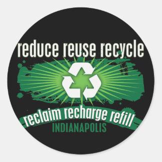 Recicle Indianapolis Pegatina Redonda