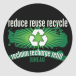 Recicle Juneau Pegatinas Redondas