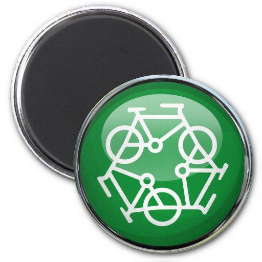 Recicle la bicicleta imán redondo 5 cm