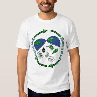 Recicle la camiseta de la tierra poleras