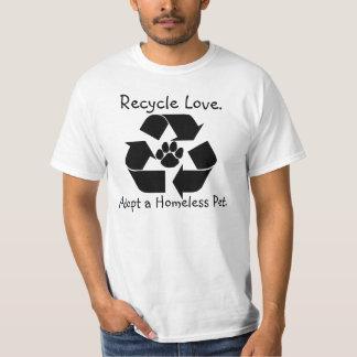 Recicle la camiseta del amor playeras