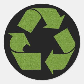 Recicle la hierba del símbolo pegatina redonda