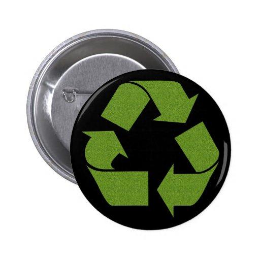 Recicle la hierba del símbolo pin redondo 5 cm