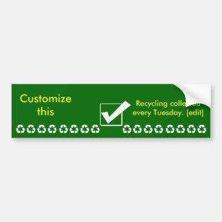 Recicle la marca de verificación del pegatina. Mod Pegatina De Parachoque