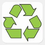 RECICLE LA MUESTRA - el cinturón verde recicla Pegatina Cuadradas