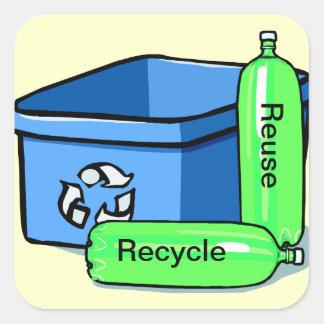 Recicle la reutilización calcomanía cuadradas