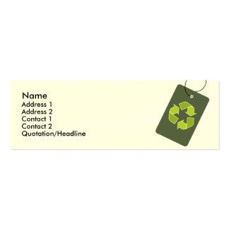 """""""Recicle"""" la tarjeta flaca del perfil Tarjetas De Visita Mini"""